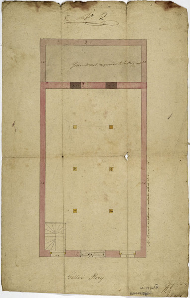 Picture of Working drawings for a warehouse for J. G. Benson: plan of cellar storey