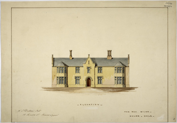 Picture of Design for a parsonage in Holme Hale, Norfolk: the entrance front