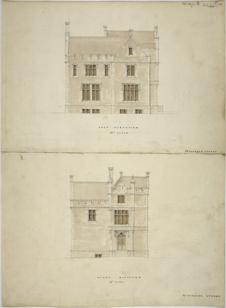 Picture of Design for a parsonage in Oundle, Northamptonshire: the east and north elevations