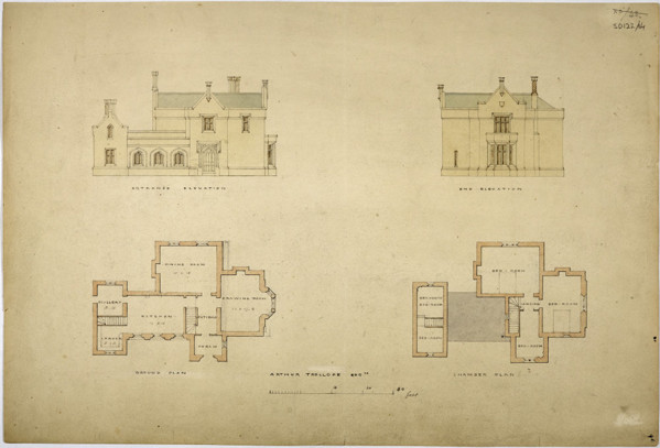 Picture of Design for a parsonage for Arthur Trollope: elevations and plans