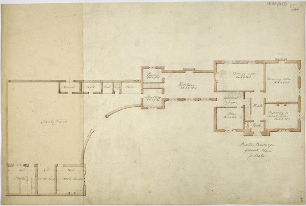 Picture of Design for a parsonage in Preston: alternative plan of the ground floor and outbuildings