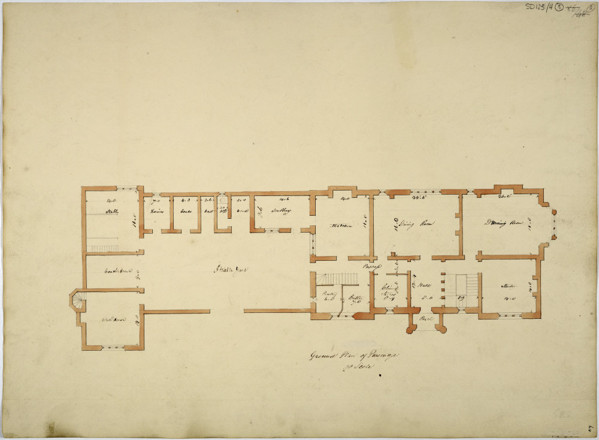 Picture of Design for a parsonage in Preston: alternative design of the ground floor and outbuilding