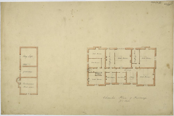 Picture of Design for a parsonage in Preston: alternative design of the bedroom floor and outbuilding