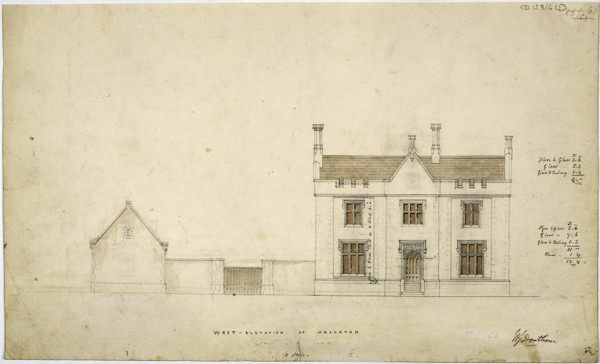 Picture of Design for a rectory in Hallaton, Leicestershire: the west elevation