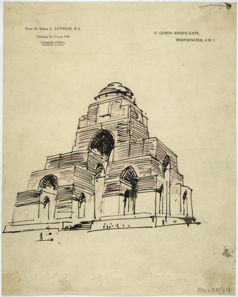 Picture of A record sketch of the unexecuted design for the Memorial to the Missing at St Quentin, Nord
