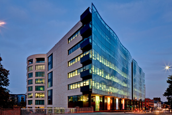 Picture of Kings Place, York Way, London, at dusk