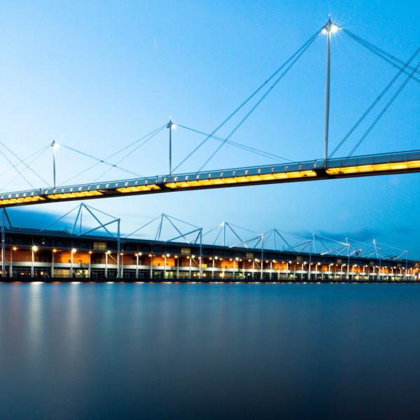 Picture of Footbridge, the Royal Victoria Dock Bridge, London, at night