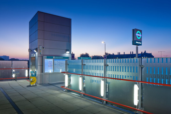 Picture of Abbey Road DLR Station, West Ham, London, at dusk