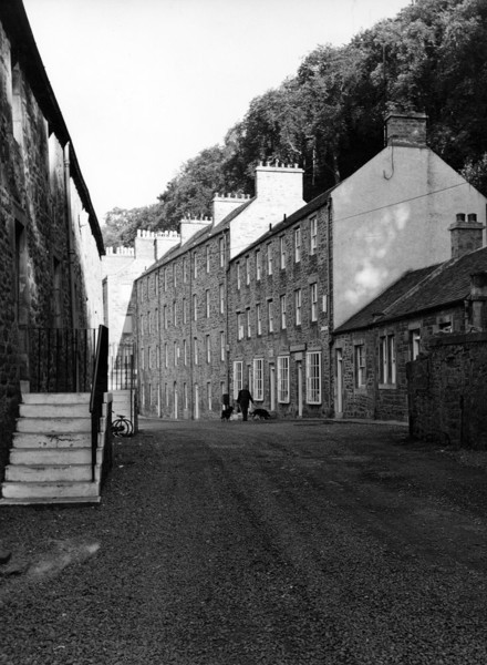 Picture of New Lanark, South Lanarkshire: Caithness Row with the reconstructed nursery buildings
