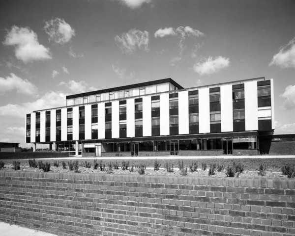 Picture of Headquarters for Gilbey's gin, Harlow, Essex: the front elevation of the office block