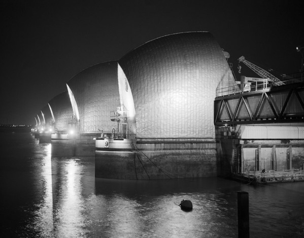 Picture of Thames Barrier, Greenwich, London, seen at night