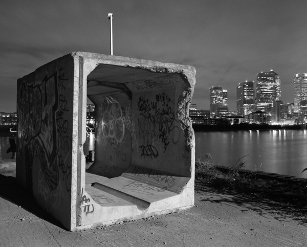 Picture of Concrete section, Greenwich peninsula, London, seen at night