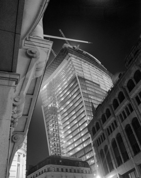Picture of 20 Fenchurch Street nearing completion, City of London, seen from below at night