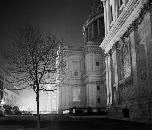 Picture of St Paul's Cathedral, City of London: the north transept, floodlit at night