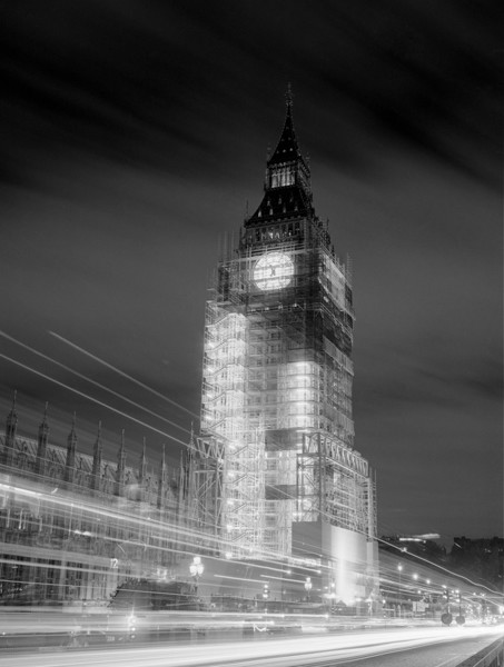 Picture of Big Ben (aka Elizabeth Tower), Houses of Parliament, Westminster, London, seen at night and shrouded in scaffolding