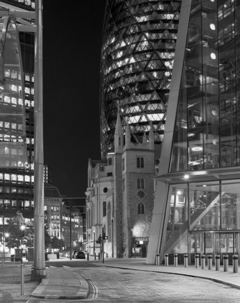 Picture of St Andrew Undershaft, 30 St Mary Axe, Leadenhall Building (aka Cheesegrater), Lime Street, City of London, seen at night