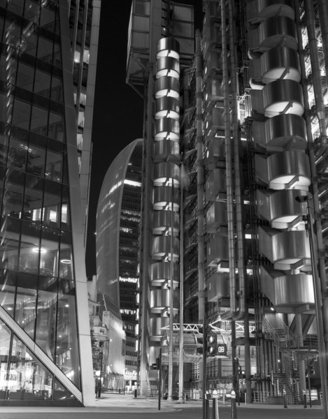 Picture of Lloyds Building and the Leadenhall Building (aka Cheesegrater), Lime Street, City of London, at night