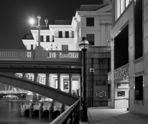 Picture of Southwark Bridge and Vintner's Place from Three Cranes Walk, London, at night